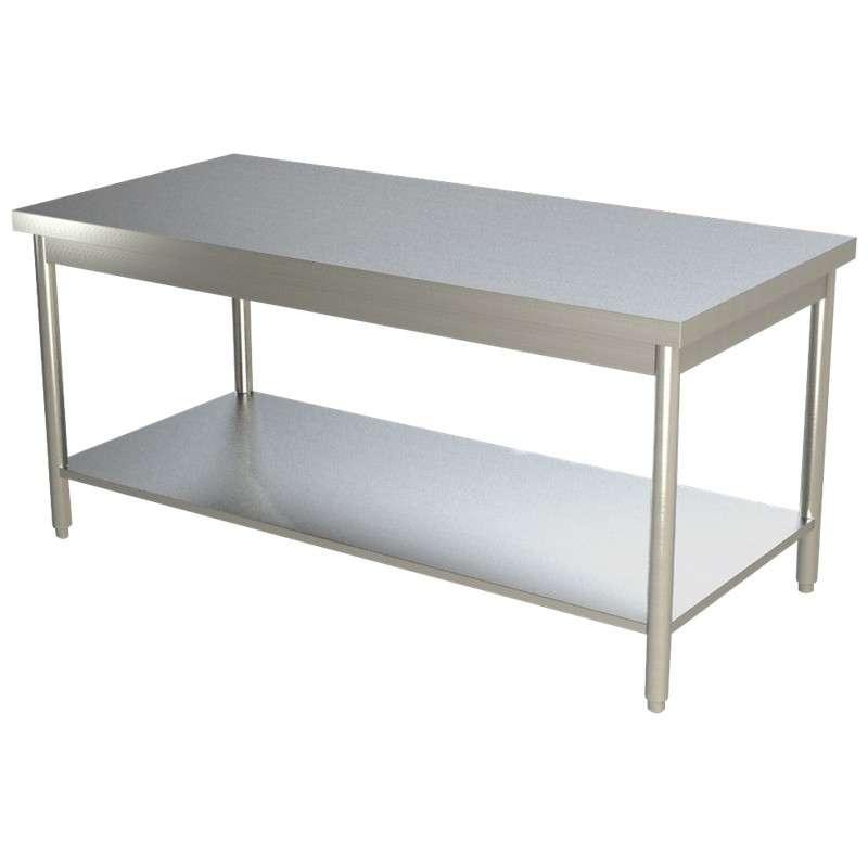 Table de travail centrale tout inox 1000x600 for Table inox de cuisine