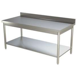 Table de travail avec dosseret tout inox 600x600