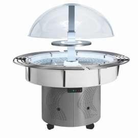 Buffet réfrigéré central rond sur roulettes ISOLA