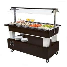 Buffet salade bar 4 bacs pour restaurant. Buffet central chauffant