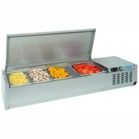 Saladette réfrigérée 4 bacs GN 1/3 couvercle inox