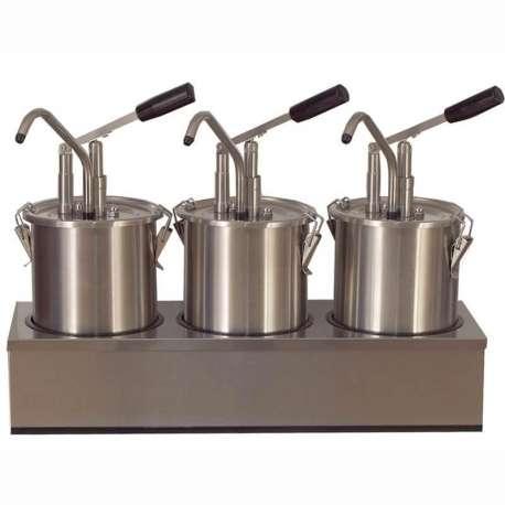 Triple distributeur de sauces inox avec piston