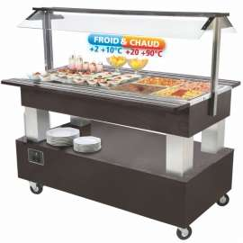 Bar à salade mixte 4 bacs - Buffet central chaud et froid pour CHR